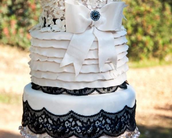 Ivory And Black Lace Wedding Cake Ibiza Cakes